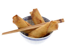 Spring Rolls. Vegetable filled Chinese spring rolls in a bowl Stock Photography