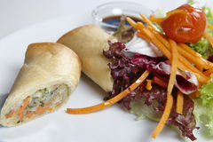 Spring rolls. With sauce and fresh salad stock photo