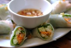 Spring Rolls. A popular Asian dish, photographed at a cafe in Cambodia Stock Photos