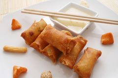 Spring rolls. Some asian spring rolls with a sauce of plum royalty free stock photos
