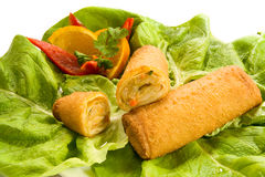 Spring rolls. Two spring rolls on fresh green lettuce leaves stock photography