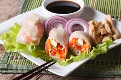 Spring rolls with chicken and vegetables closeup. horizontal Royalty Free Stock Photography