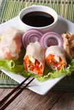Spring rolls with chicken and vegetables closeup. Vertical Stock Image