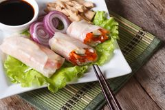 Spring rolls with chicken and vegetables horizontal top view Royalty Free Stock Photography