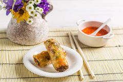 Spring rolls and chili sauce Royalty Free Stock Photography