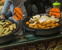 Spring rolls and crab claws exposed in Camden Town Stock Image