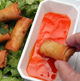 Spring rolls and dip Stock Photo