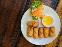 Spring rolls with dipping sauce Royalty Free Stock Photography