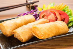 Spring rolls on dish. Asian food stock images