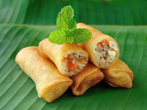 Spring rolls food. Fried Chinese Traditional Spring rolls food Royalty Free Stock Photos