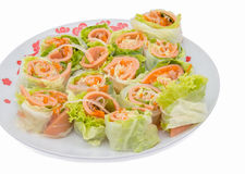Spring rolls food with vegetable Royalty Free Stock Photo