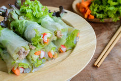 Spring rolls with fresh vegetable Royalty Free Stock Photos