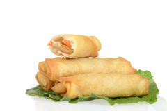 Spring rolls on lettuce Royalty Free Stock Images