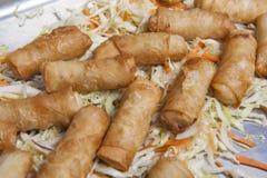 Spring rolls at an oriental restaurant buffet Stock Images