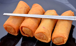 Spring rolls on a plate Stock Photos