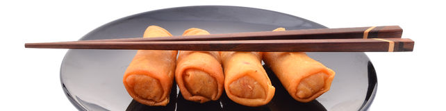 Spring rolls on a plate Royalty Free Stock Photos