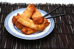 Spring Rolls on Plate with Chopsticks royalty free stock photography