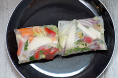 Spring rolls on a plate Stock Image