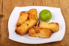 Spring roll. S with prawn and vegetables royalty free stock photos