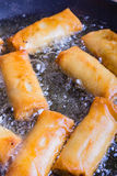 Spring rolls with prawns being fried. Royalty Free Stock Photography