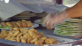 Spring rolls prepared stock video footage