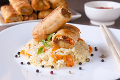 Spring rolls and rice Royalty Free Stock Images