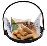 Spring rolls with salmon and sauce. stock image