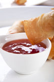 Spring Rolls and Sauce Stock Photo