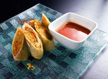 Spring Rolls and Sauce Stock Images
