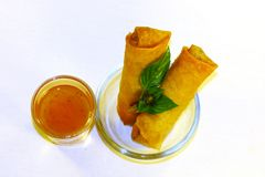 Spring rolls served with sweet and sour sauce in beautiful glass stock photos