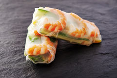 Spring rolls with shrimps Stock Photos