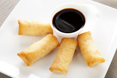 Spring Rolls and Soy Sauce Royalty Free Stock Photography