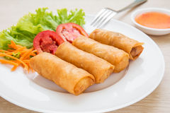 Spring rolls and sweet chili dip sauce Royalty Free Stock Photos