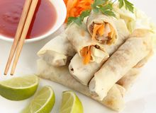 Spring rolls with sweet and sour sauce Royalty Free Stock Photo