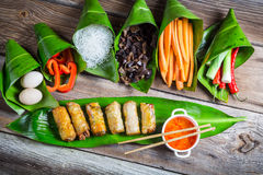 Spring rolls and sweet and sour sauce Stock Photography