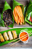 Spring rolls and sweet and sour sauce Royalty Free Stock Image