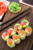 Spring rolls with tuna and salmon Royalty Free Stock Photo