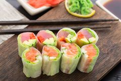 Spring rolls with tuna and salmon Stock Photos