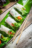 Spring rolls with vegetables and chicken Royalty Free Stock Photos