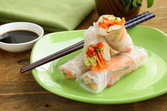 Spring rolls with vegetables and chicken Stock Photo