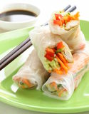 Spring rolls with vegetables and chicken Stock Images