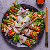 Spring rolls with vegetables and shiitake mushrooms on a plate. Royalty Free Stock Photos