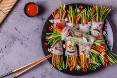 Spring rolls with vegetables and shiitake mushrooms on a plate. Royalty Free Stock Photo