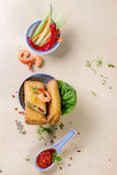 Spring rolls with vegetables and shrimps Royalty Free Stock Photos