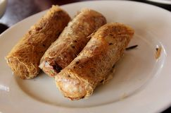 Spring Rolls. Vietnamese fried Spring Rolls served at a restaurant in Hoi An, Vietnam Stock Images
