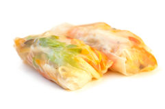 Spring rolls on a white background Stock Photos