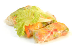 Spring rolls on a white background Royalty Free Stock Image