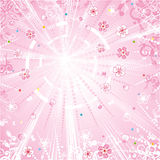 Spring or romantic background. Sunshine, soft pink and white, flowers, petals, butterflies Royalty Free Stock Photo