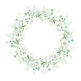 Spring round frame with contour flowers snowdrops Stock Images