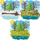 Spring round pixels art Stock Image